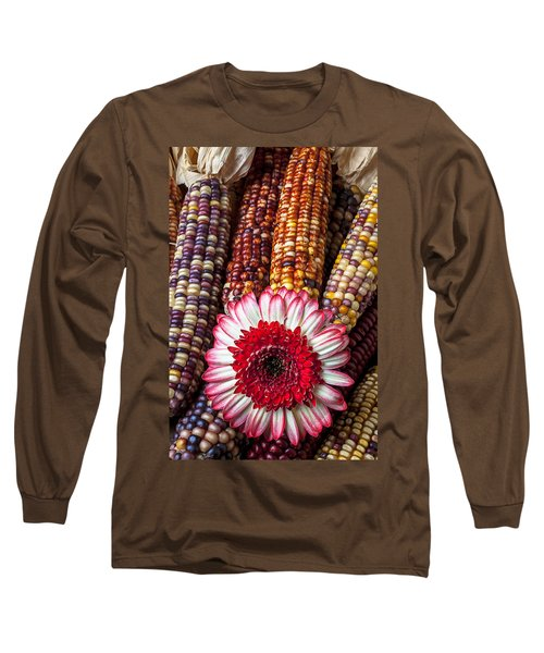Red And White Mum With Indian Corn Long Sleeve T-Shirt