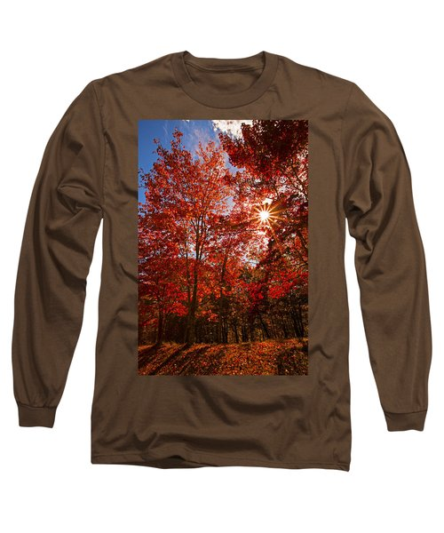 Long Sleeve T-Shirt featuring the photograph Red Autumn Leaves by Jerry Cowart