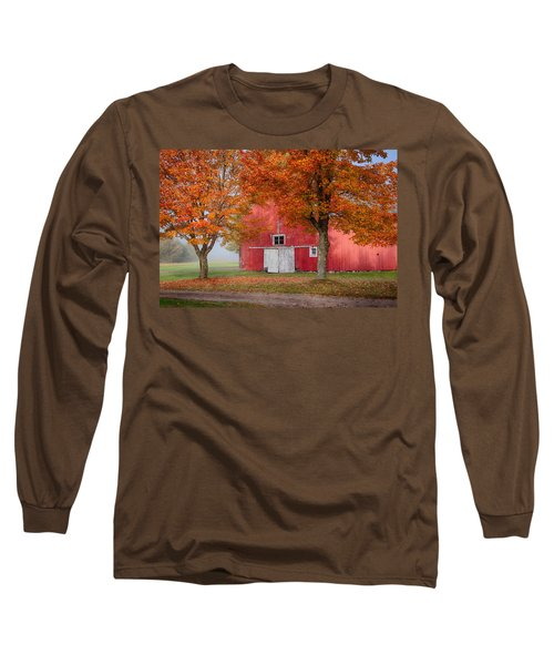 Long Sleeve T-Shirt featuring the photograph Red Barn With White Barn Door by Jeff Folger