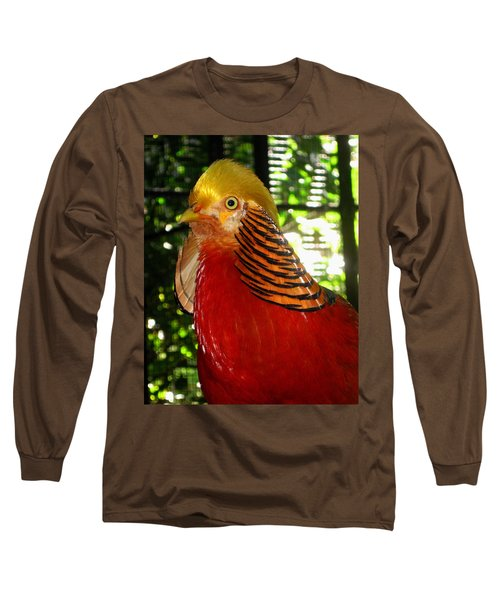 Red Bird Long Sleeve T-Shirt by Pamela Walton