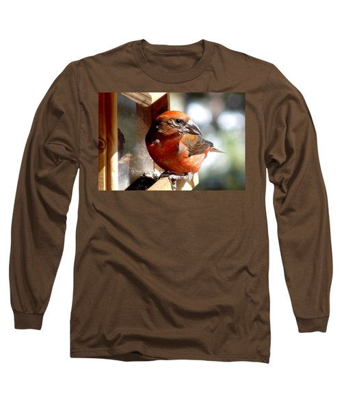 Red Crossbill Long Sleeve T-Shirt by Marilyn Burton