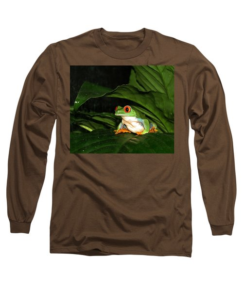 Red Eyed Green Tree Frog Long Sleeve T-Shirt by MTBobbins Photography