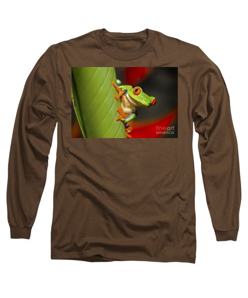Red Eyed Leaf Frog Long Sleeve T-Shirt by Bob Hislop