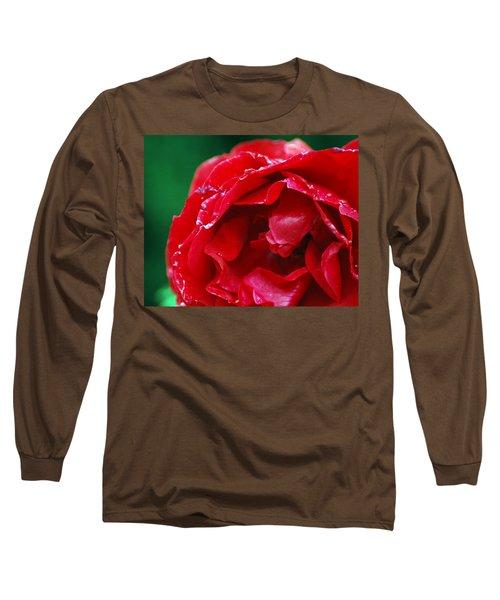 Long Sleeve T-Shirt featuring the photograph Red Flower Wet by Matt Harang