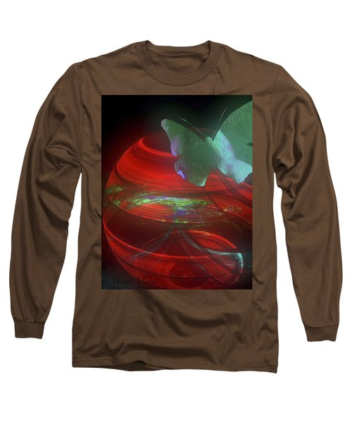 Red Fractal Bowl With Butterfly Long Sleeve T-Shirt