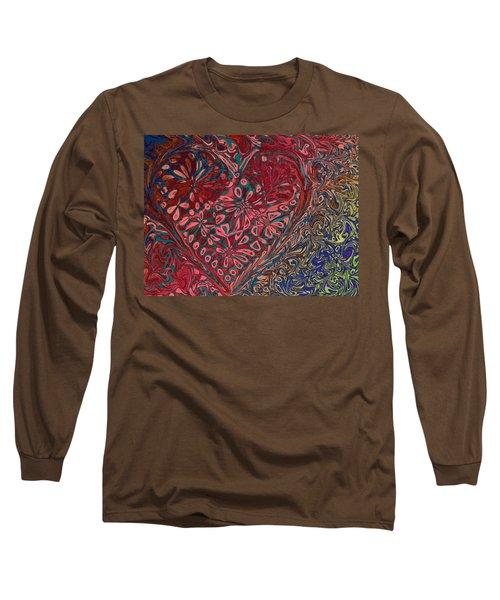 Red Heart Long Sleeve T-Shirt by David Pantuso
