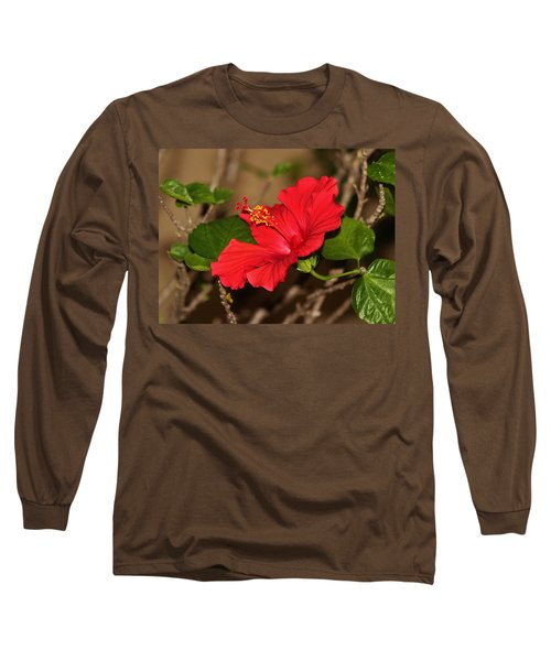 Red Hibiscus Flower Long Sleeve T-Shirt