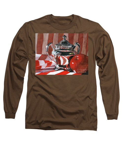 Red In Silver Long Sleeve T-Shirt by Lynne Reichhart