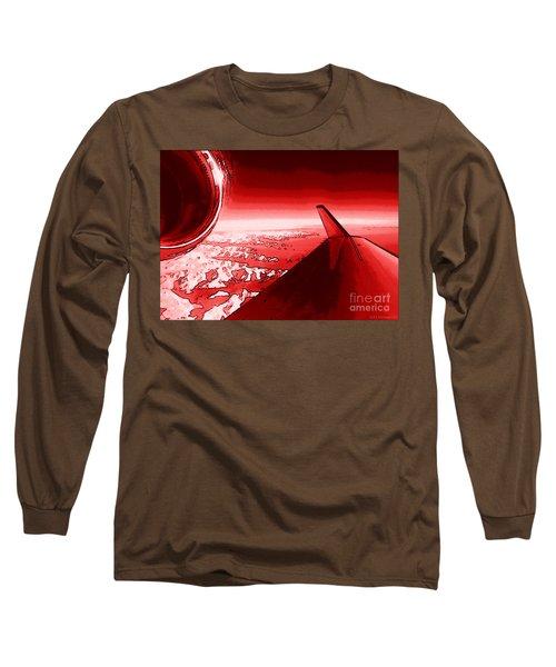 Long Sleeve T-Shirt featuring the photograph Red Jet Pop Art Plane by R Muirhead Art
