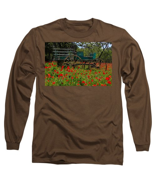 Red Poppies With Wagon Long Sleeve T-Shirt