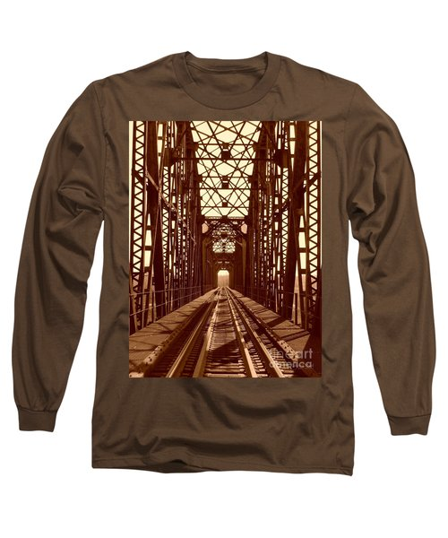 Long Sleeve T-Shirt featuring the photograph Red River Train Bridge #1 by Robert ONeil
