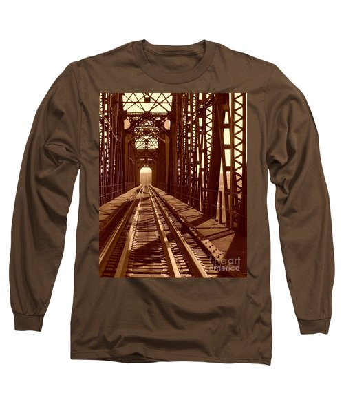 Long Sleeve T-Shirt featuring the photograph Red River Train Bridge #2 by Robert ONeil