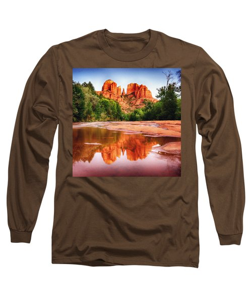 Red Rock State Park - Cathedral Rock Long Sleeve T-Shirt by Bob and Nadine Johnston