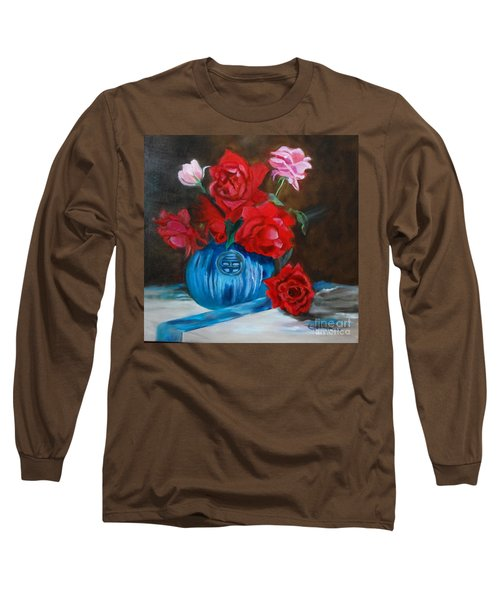 Long Sleeve T-Shirt featuring the painting Red Roses And Blue Vase by Jenny Lee