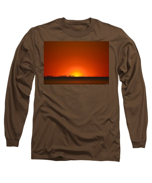 Long Sleeve T-Shirt featuring the photograph Red Sunset With Superior Mirage On Santa Rosa Sound by Jeff at JSJ Photography