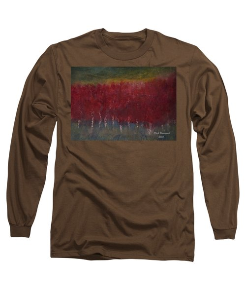 Red Trees Watercolor Long Sleeve T-Shirt