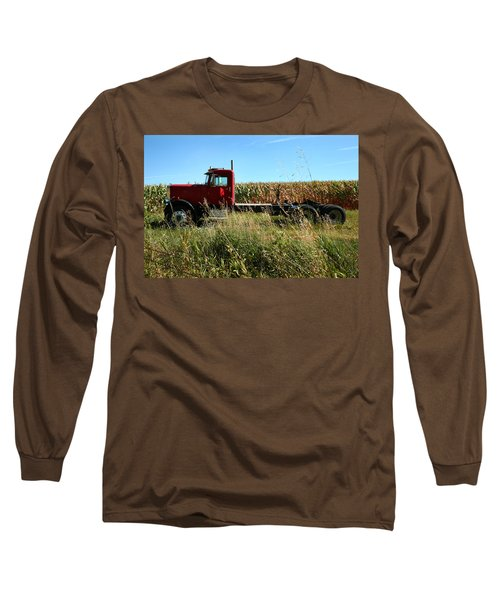 Red Truck In A Corn Field Long Sleeve T-Shirt