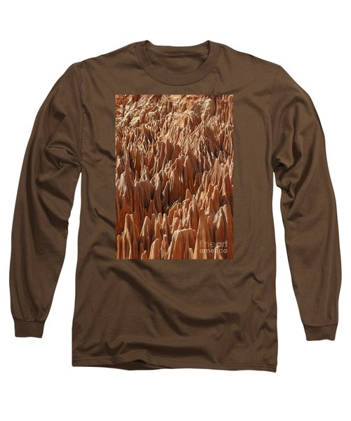 Long Sleeve T-Shirt featuring the photograph red Tsingy Madagascar 3 by Rudi Prott