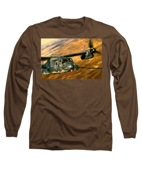 Long Sleeve T-Shirt featuring the painting Refueling by Dave Luebbert