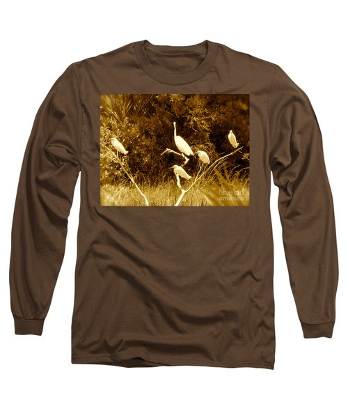Resting Flock Sepia Long Sleeve T-Shirt