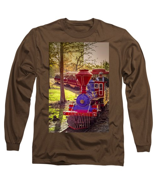Riding Out Of The Sunset On The Hermann Park Train Long Sleeve T-Shirt