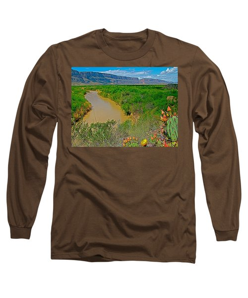 Rio Grande East Of Santa Elena Canyon In  Big Bend National Park-texas Long Sleeve T-Shirt by Ruth Hager