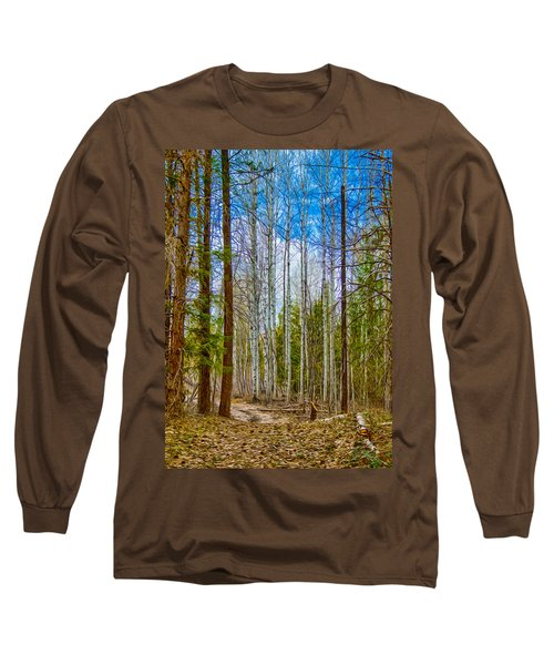 Long Sleeve T-Shirt featuring the painting River Run Trail At Arrowleaf by Omaste Witkowski