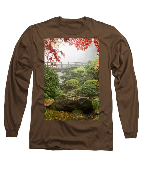 Long Sleeve T-Shirt featuring the photograph Rock And Bridge At Japanese Garden by JPLDesigns