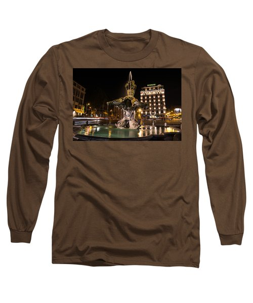 Rome's Fabulous Fountains - Bernini's Fontana Del Tritone Long Sleeve T-Shirt