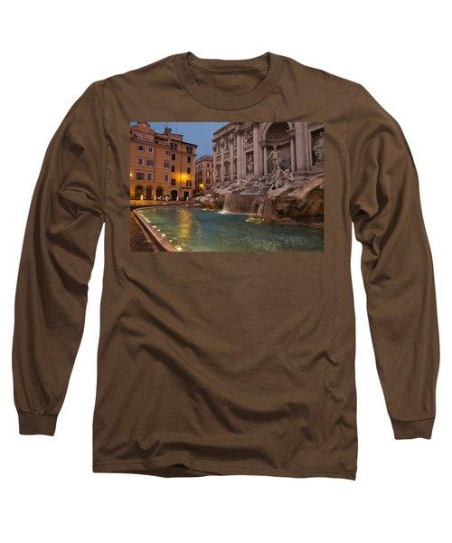 Rome's Fabulous Fountains - Trevi Fountain At Dawn Long Sleeve T-Shirt by Georgia Mizuleva