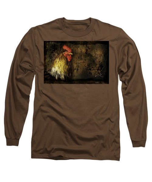 Long Sleeve T-Shirt featuring the mixed media Rooster With Brush Calligraphy Loyalty by Peter v Quenter