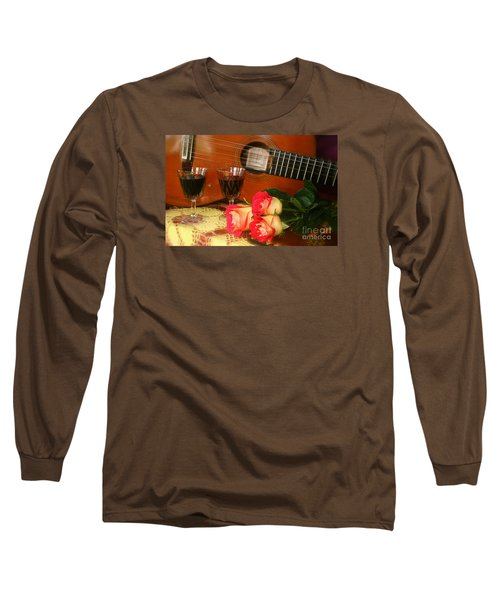 Guitar 'n Roses Long Sleeve T-Shirt by The Art of Alice Terrill
