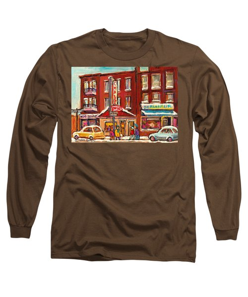 Rotisserie Le Chalet Bar B Q Sherbrooke West Montreal Winter City Scene Long Sleeve T-Shirt by Carole Spandau