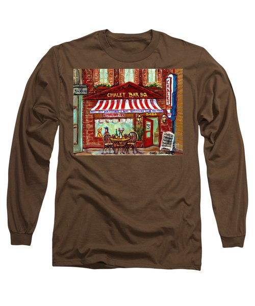 Rotisserie Le Chalet Bbq Restaurant Paintings Storefronts Street Scenes Diners Montreal Art Cspandau Long Sleeve T-Shirt