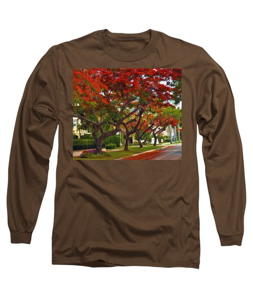 Royal Poinciana Trees In Blooming In South Florida Long Sleeve T-Shirt