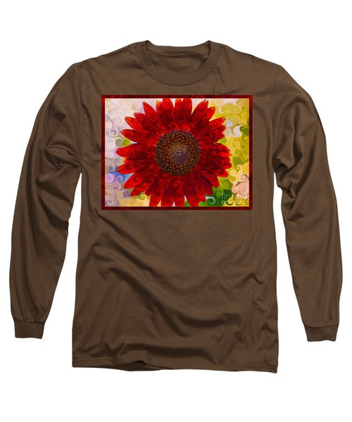 Long Sleeve T-Shirt featuring the painting Royal Red Sunflower by Omaste Witkowski