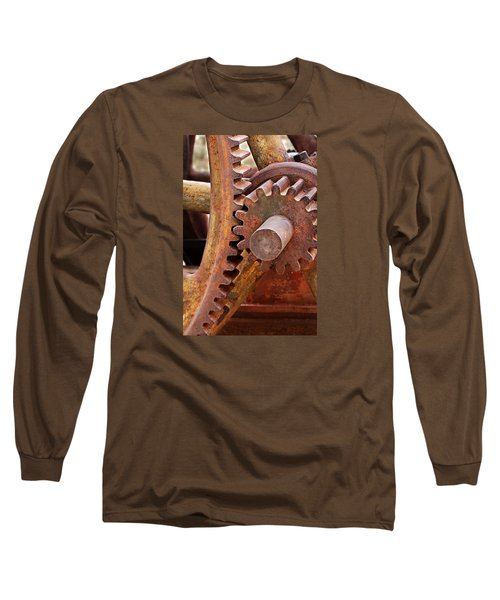 Long Sleeve T-Shirt featuring the photograph Rusty Metal Gears by Phyllis Denton