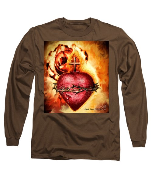 Sacred Heart Of Jesus Christ With Rose Long Sleeve T-Shirt by Annie Zeno