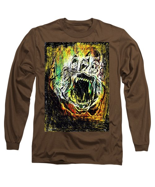 Sacred Paw Impression Long Sleeve T-Shirt by Ayasha Loya