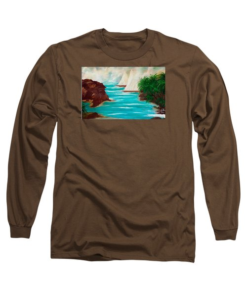 Sailing The Coast Of California Long Sleeve T-Shirt by Sherri's Of Palm Springs