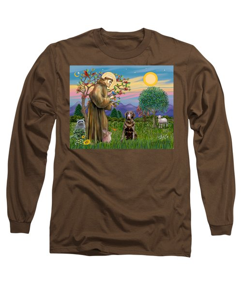 Saint Francis Blesses A Chocolate Labrador Retriever Long Sleeve T-Shirt