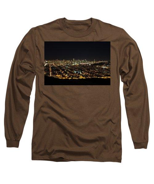 San Francisco Skyline Long Sleeve T-Shirt by Dave Files