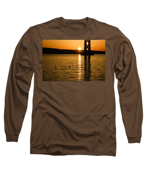 Long Sleeve T-Shirt featuring the photograph San Francisco Bay Bridge Sunrise by Georgia Mizuleva