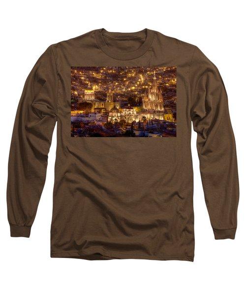 San Miguel De Allende At Night Long Sleeve T-Shirt