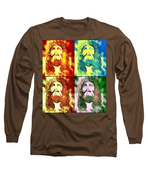 Long Sleeve T-Shirt featuring the painting Savior Faces by Dave Luebbert