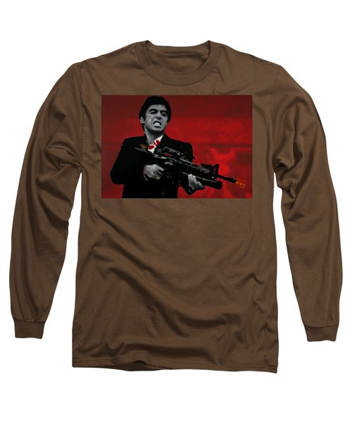 Say Hello To My Little Friend  Long Sleeve T-Shirt by Luis Ludzska