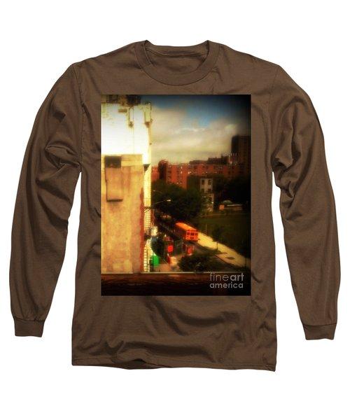 Long Sleeve T-Shirt featuring the photograph School Bus - New York City Street Scene by Miriam Danar