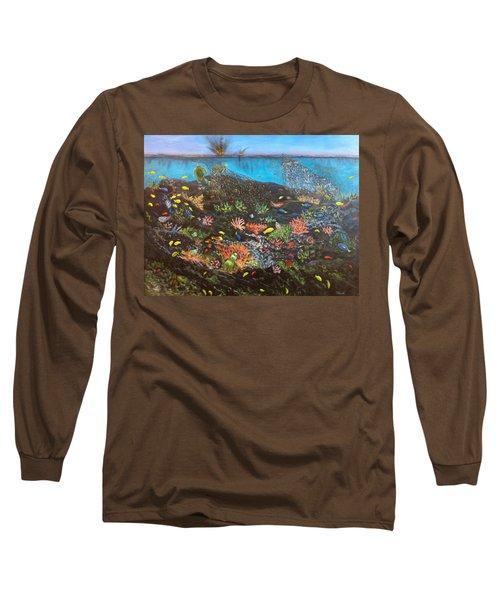 Long Sleeve T-Shirt featuring the painting Sea Assault by Karen Zuk Rosenblatt