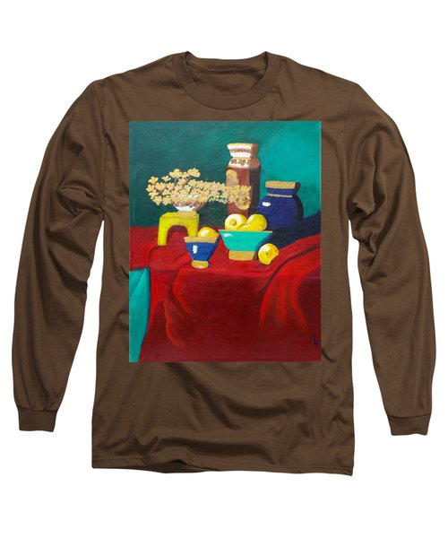 Seafoam Green On Red Velvet Long Sleeve T-Shirt by Margaret Harmon