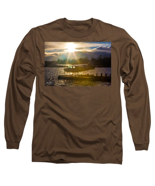 Seaplane Sunset Long Sleeve T-Shirt by Charlie Duncan